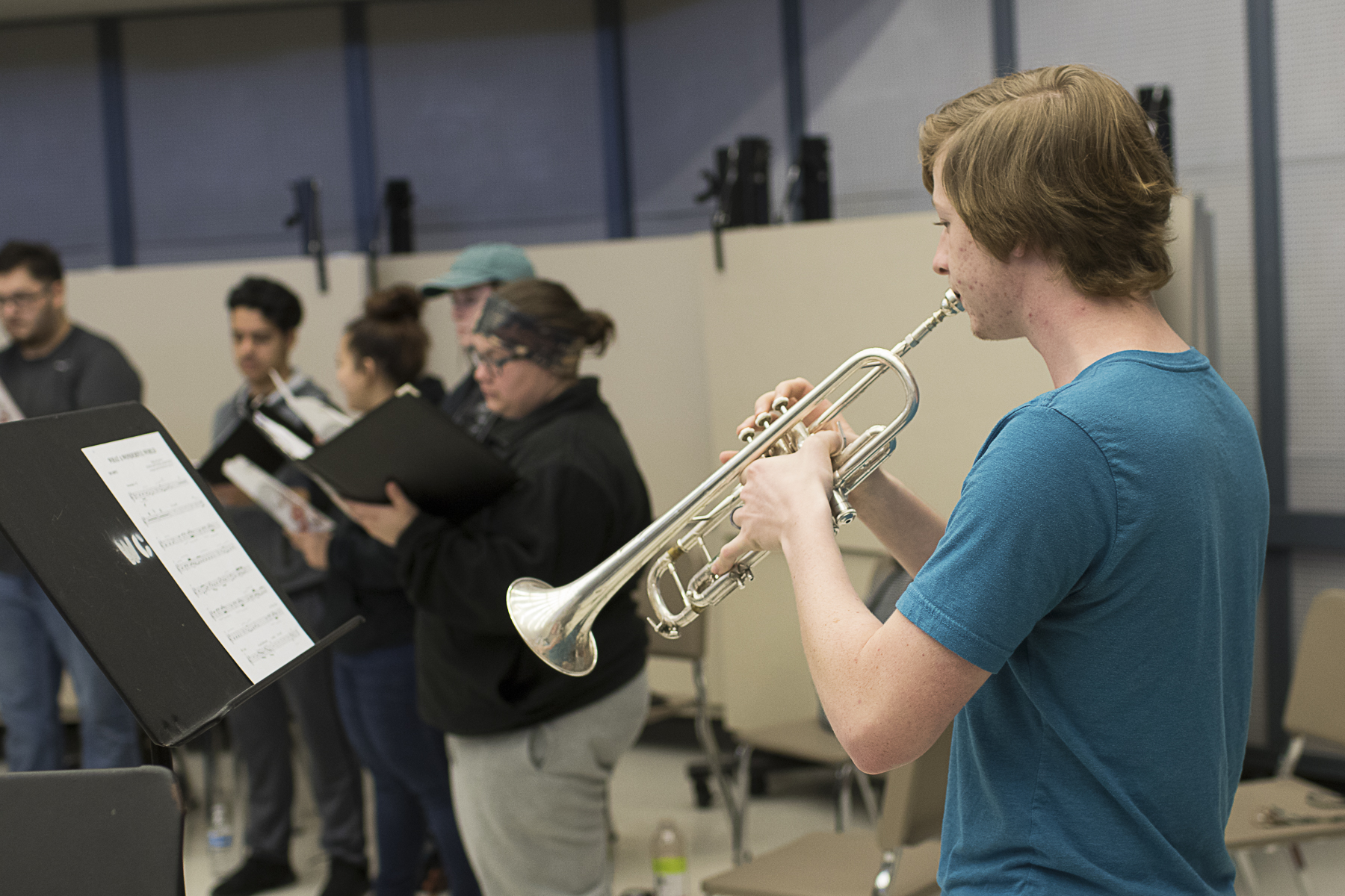 WCJC Band trumpet player Ethan Weinberg of Danevang rehearses with WCJC Choir members